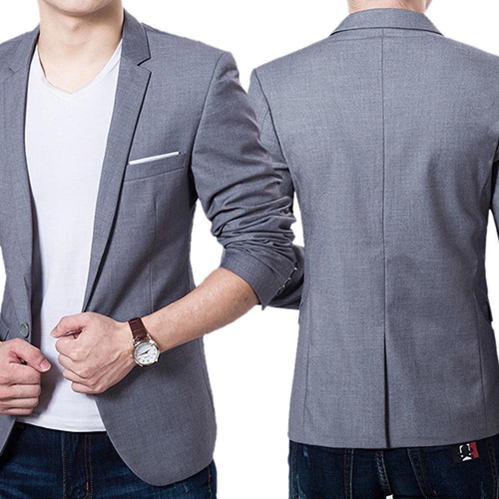 AliExpress - 70% Hot Sale Men's Solid Color Step Collar Slim Blazer Formal Business Wear One Button Suit