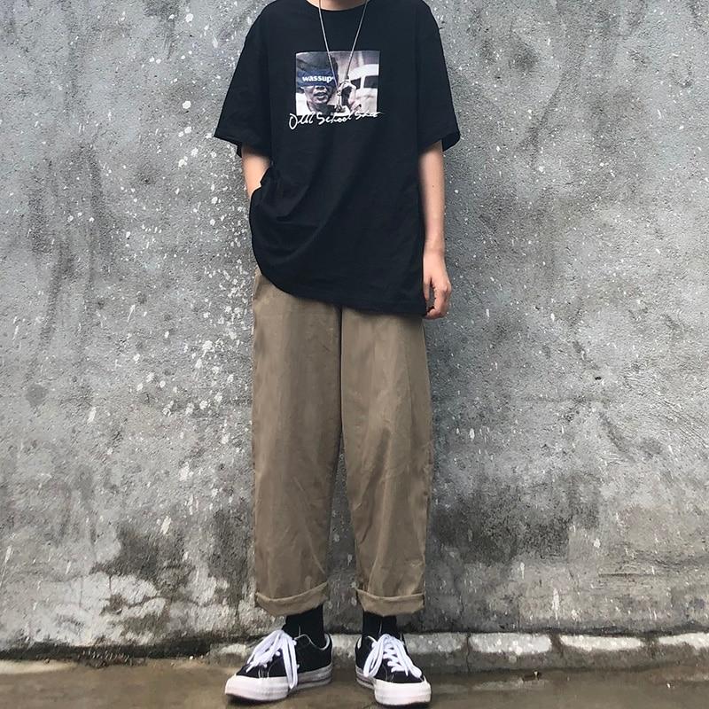 HOUZHOU Vintage Pants Women Solid Trousers Women Loose Causal Pants Full Length Wide Leg Pants Korean Straight Pantalones Mujer