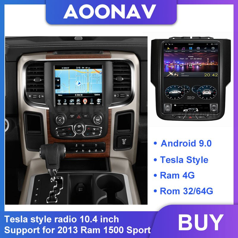 AOONAV écran tactile Tesla style 10.4 pouces autoradio GPS navigation Radio 2013 Ram 1500 Sport voiture lecteur DVD