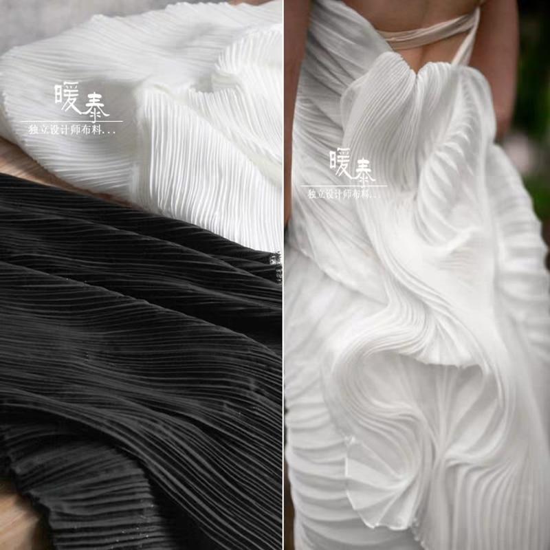 Striped folds Chiffon Fabric Hundred Pleats  DIY Patchwork bazin riche Pants Skirt Dress Designer Fabric