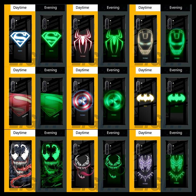 Marvel veneno Superman luminosa de caso para Samsung Galaxy Nota 10 9 8 Capitán América funda Galaxy Nota 10 caso iPhone