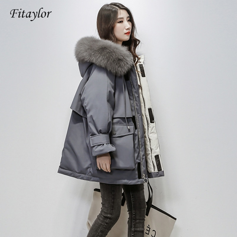 Fitaylor Large Natural Fox Fur Hooded Winter Jacket Women 90% White Duck Down Thick Parkas Warm Sash