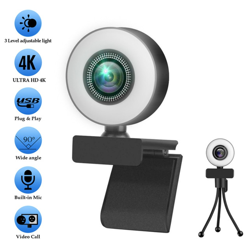 4K Webcam 2K Full HD Web Camera With Microphone LED Fill Light USB Web Cam Rotatable For PC Computer