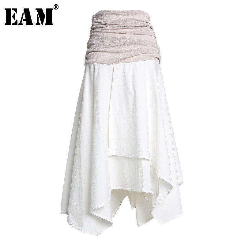 [EAM] High Waist White Pleated Split Joint Irregular Long Half-body Skirt Women Fashion Tide New Spring Autumn 2020 JT206