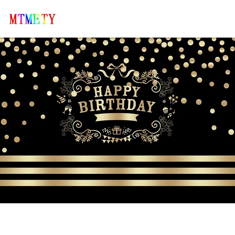 Fondo de fotografía para fiesta de cumpleaños negro dorado MTMETY, fondo con patrón de flores y puntos dorados, Fondo de vinilo para estudio fotográfico PropsX-7