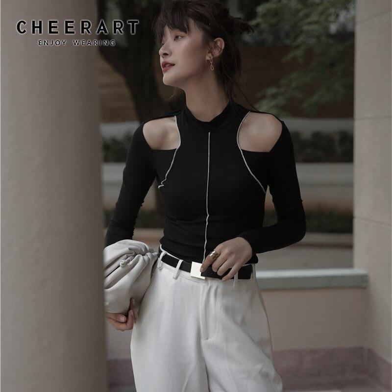 CHEERART Sexy Top de manga larga hombro frío negro T camisa las mujeres apretado damas diseñador Top ropa interior camisa de ropa de otoño