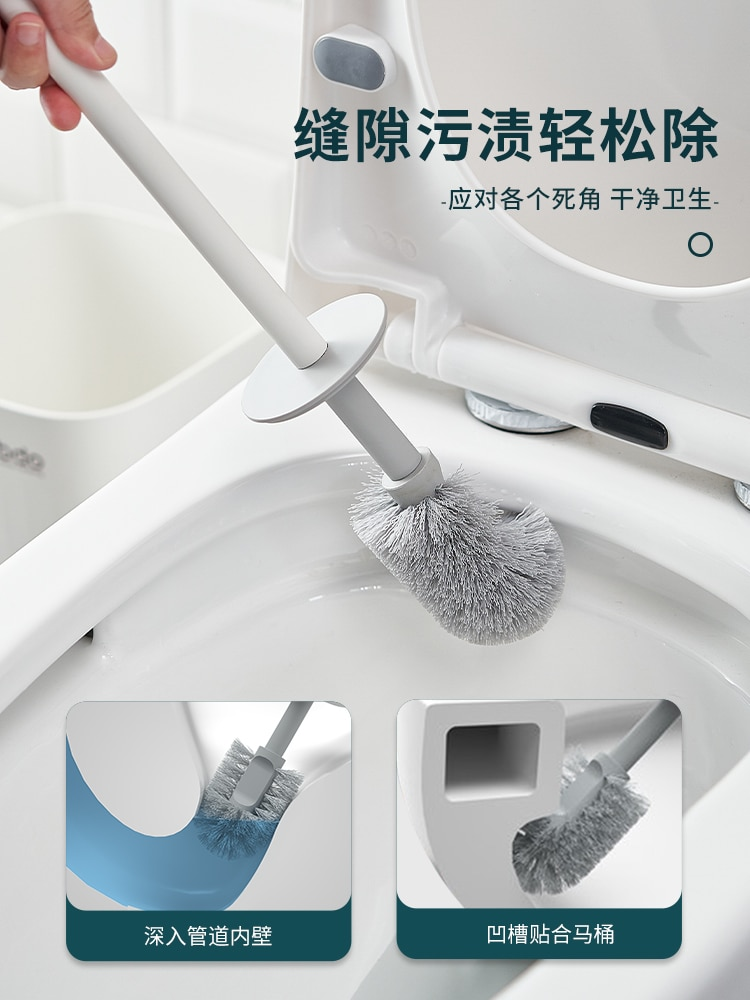 Minimalist Plastic Toilet Brush Creative Long Handle Wall Mounted Toilet Brush Set White Brosse Toilette Cleaning Tools DK50TB enlarge