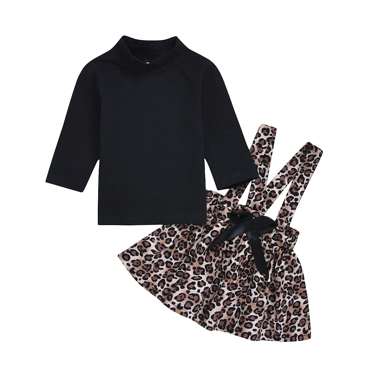 2 uds. Conjunto de ropa para niño chico y Niña conjunto de camisetas de manga larga + conjunto de vestido de falda de leopardo