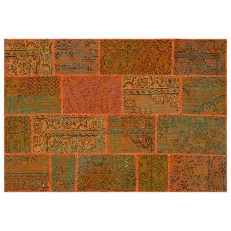 Handmade Orange Vintage Overdyed Patchwork Area Rug 160x230 Cm-5'3''X7'7''