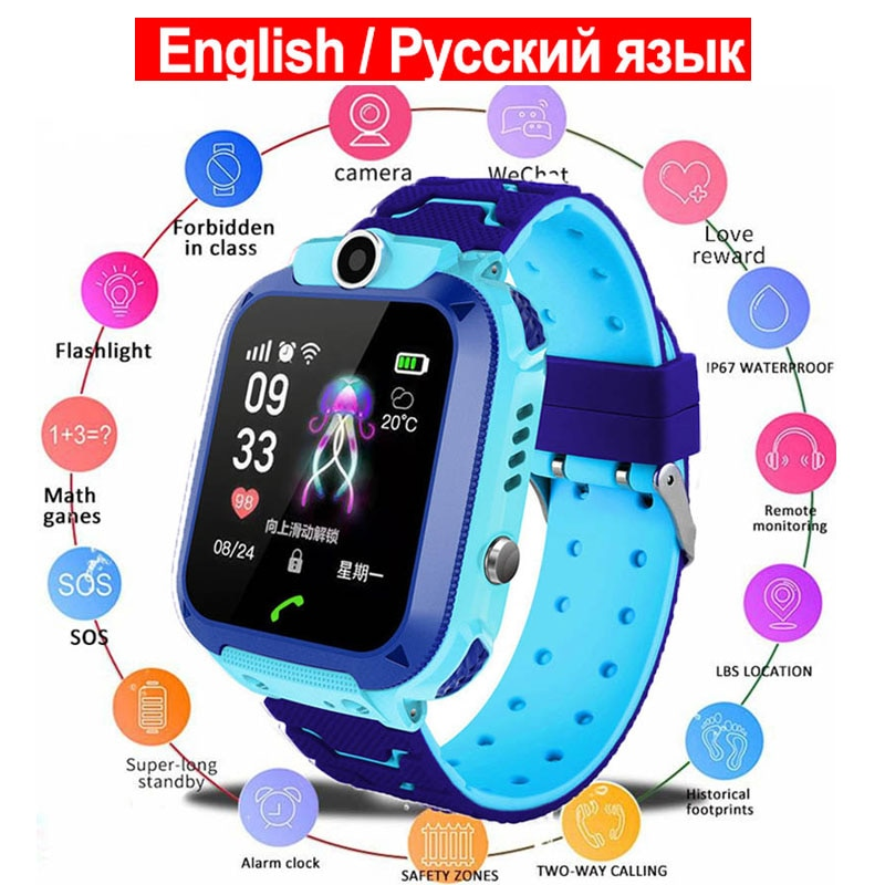 Russian Language Kids Phone Smart Watch IP76 Waterproof Waches Child Smartwatch Selfie Camera Photo Toys for Children Gift