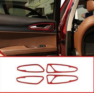 Red Real Carbon Fiber Car Interior Door Handle Frame Trim For Alfa Romeo Stelvio 2017 2018 2019 Accessories 4pcs