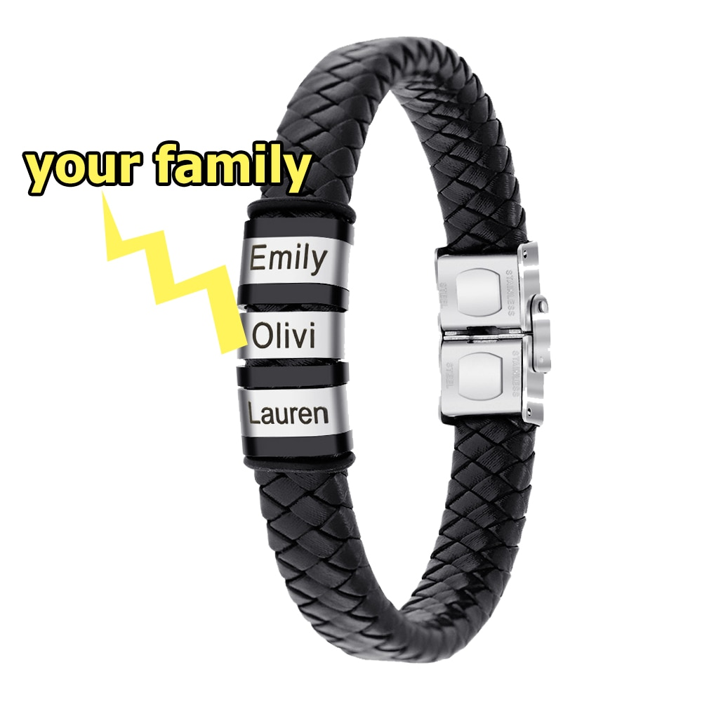 Custom Mens Genuine Leather Bracelet Stainless Steel Custom Beads Name Charm Bracelet Jewelry For Men With Family Names regalos