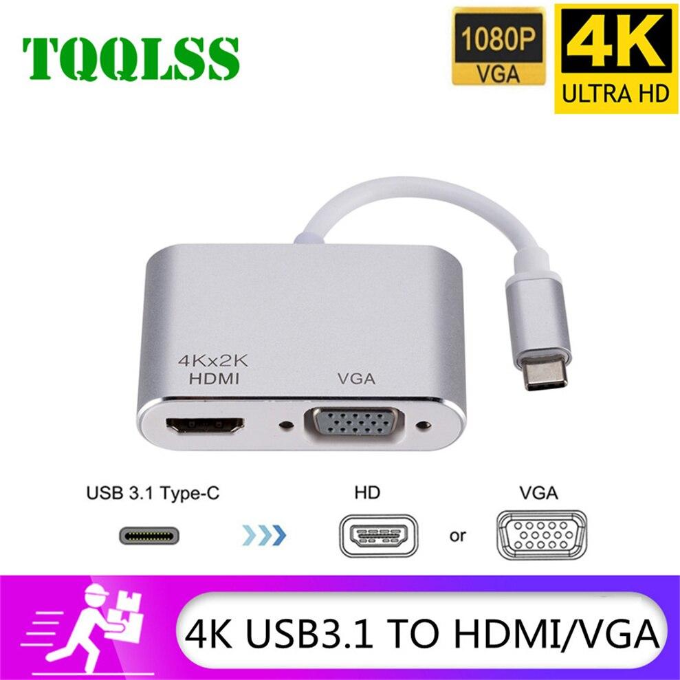 TQQLSS USB tipo C a HDMI Cable adaptador VGA 2 en 1...