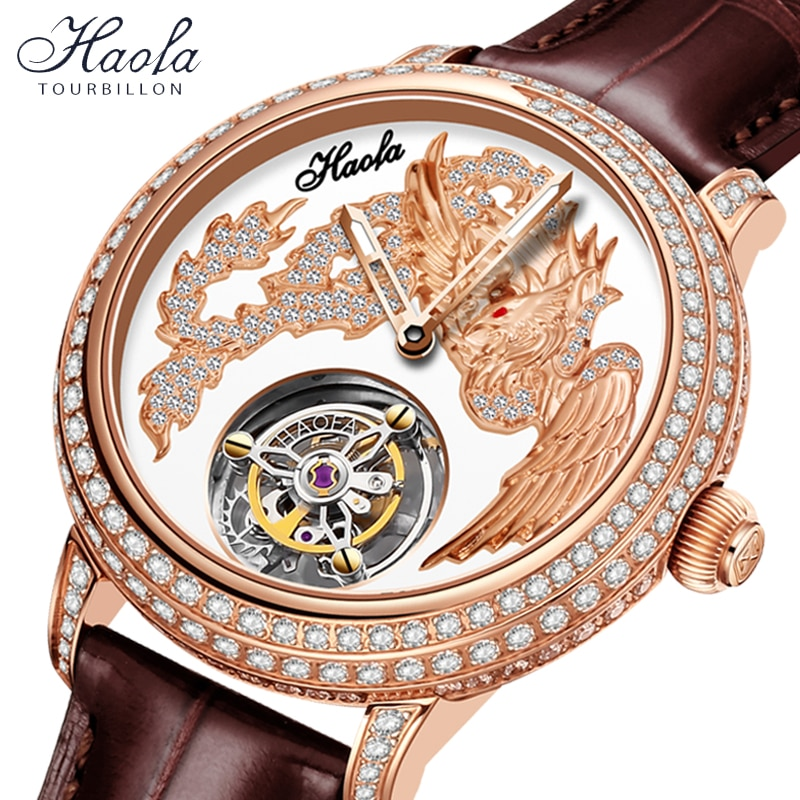 HAOFA Women Tourbillon Mechanical Sapphire Watches Manual Female Tourbillon Luxury Crystal Watch For Women Fashion montre femme
