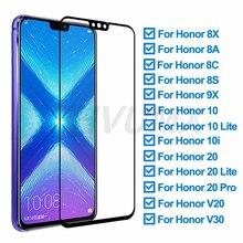 Vidrio Protector 9D para Huawei Honor 8X 8A 8C 8S 9X Protector de pantalla para Honor 10 Lite 20 Pro 10i V20 V30 película de vidrio templado