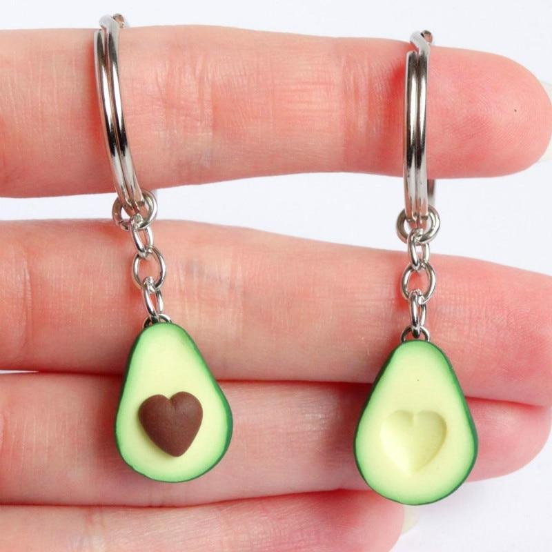 1 par de moda feminina verde abacate bff amizade chaveiro pingente, bonito verde abacate casal chaveiro namorada boyfrien