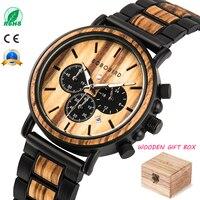 BOBO BIRD деревянные часы мужские erkek kol saati роскошные стильные деревянные часы Хронограф военные кварцевые часы в деревянной подарочной коробк...