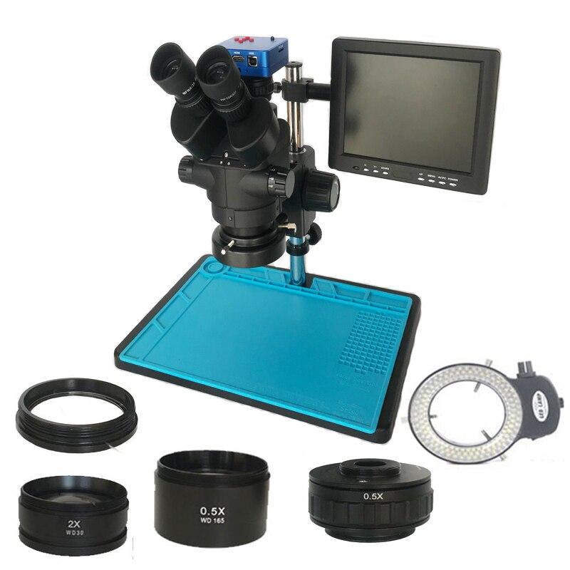 3.5X-90X لحام ثلاثي العينيات مجهر ستيريو مصلحة الارصاد الجوية 38MP HDM متوافق الرقمية USB كاميرا فيديو LCD 8