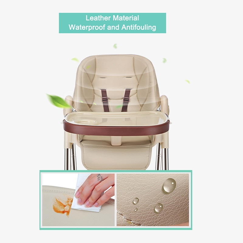Baby Inner Adjustable Baby Dining Chair Folding Booster Seat Portable High Feeding Lunch Chair Removable Highchair with Wheels enlarge