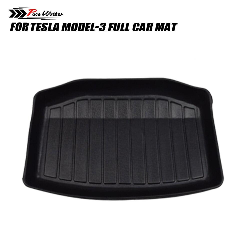 All Weather Floor Mats For Tesla Model 3 Custom Fit TPE Car Cargo Liner Rear Cargo Tray Trunk Waterproof Interior Accessories Se enlarge