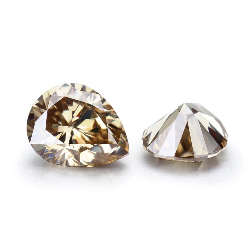STARSGEM-أحجار كريمة مويسانيتي 8*10 مللي متر ، حبة شمبانيا ، حجر 3ct VVS ، حجر كمثرى مويسانيتي فضفاض للمجوهرات