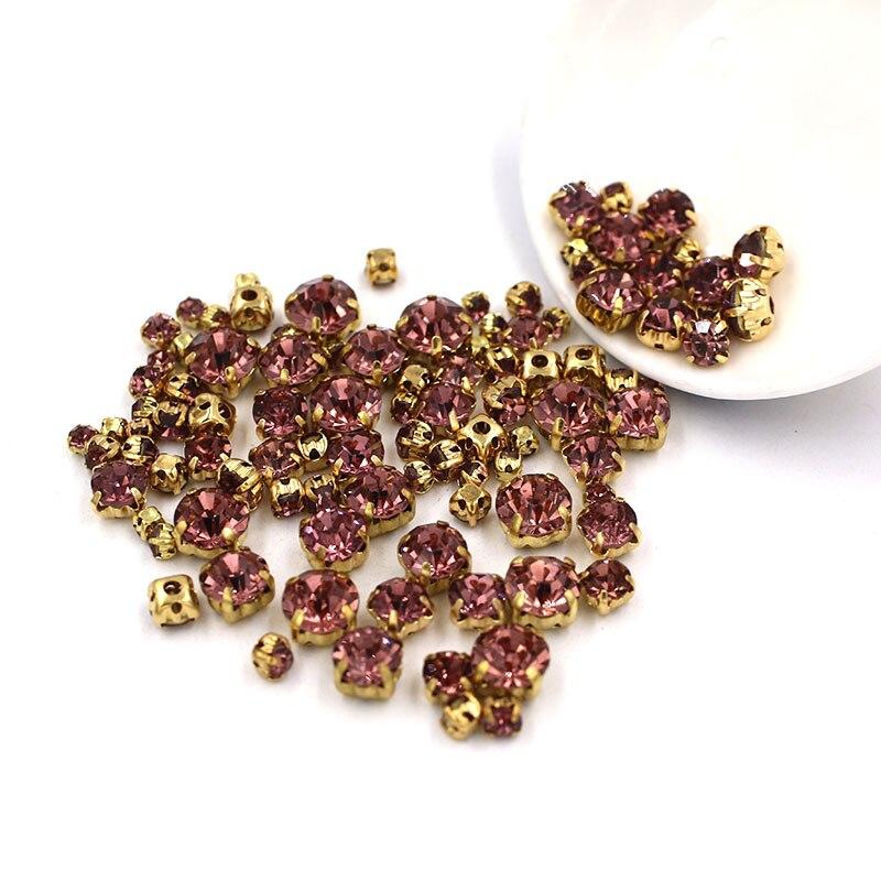 Nuevo 100 unids/bolsa tamaño mixto luz púrpura vidrio strass ropa de cristal cuentas sueltas base de oro costura pedrería diy vestido de novia