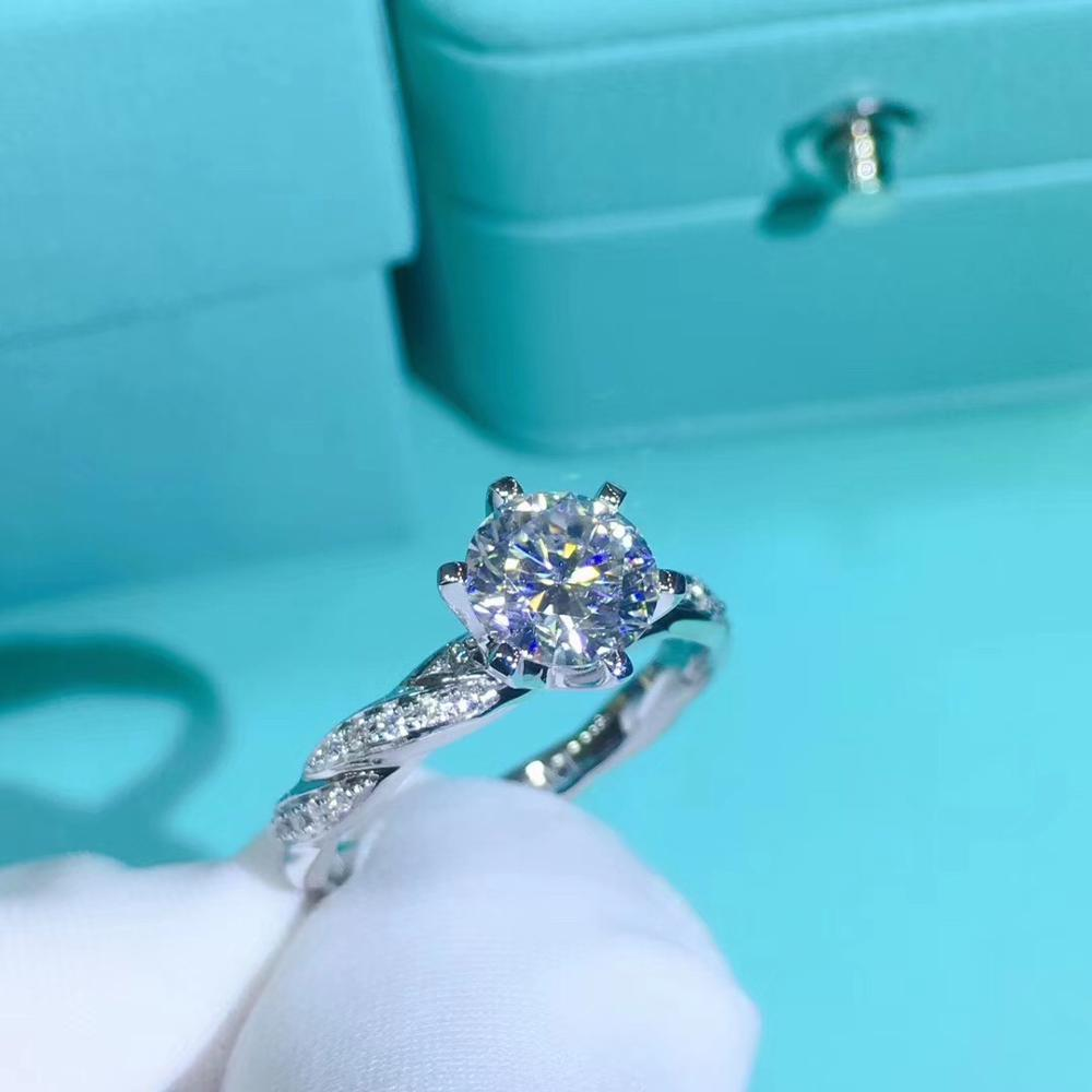 925 الفضة Moissanit حلقة 1.00ct 6.50 مللي متر D VVS الفاخرة Moissanit Weding خاتم للنساء