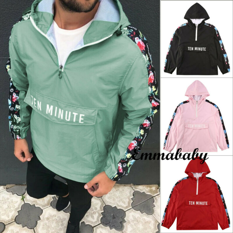 AliExpress - Meihuida Men Casual Hoodies Half Zip Hood Pullover Lightweight Windbreaker Front Pocket Jacket Hip Hop Fashion Wear