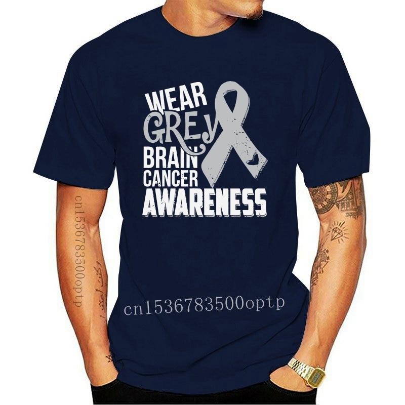 New Men T Shirt Brain Cancer Awareness I Wear Grey Women tshirt