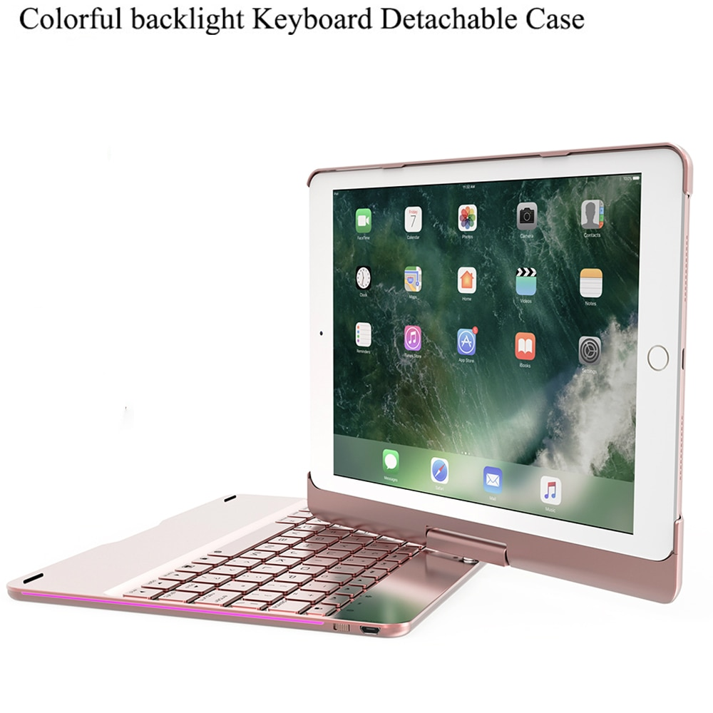 Gire a caixa do teclado para ipad 2018 9.7 colorful colorful colorido backlight sem fio bluetooth teclado capa para ipad 2017 ar 2 1 fundas