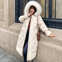 hot new down jacket women big fur collar cotton clothing white swan embroidery hooded parka loose lengthen thick warm long coat