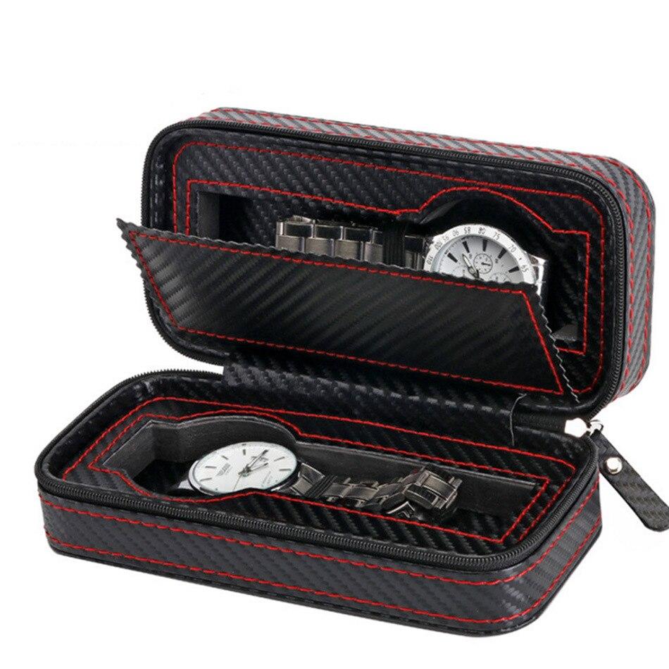 2 rejillas de cuero de PU caja de reloj organizador de relojes de almacenamiento caja de visualización bandeja Zippere viaje caja de colección de relojes de joyería