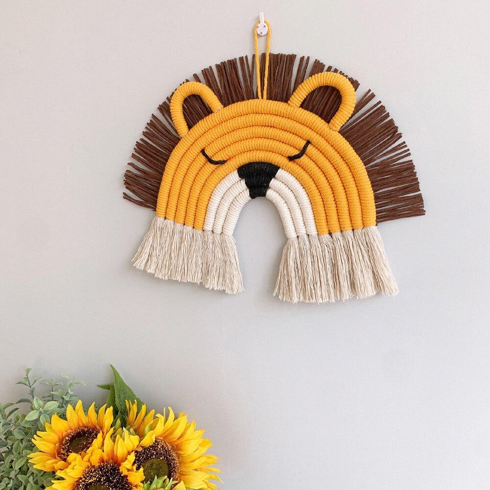 Corda de algodão artesanal tecido decoração da parede dos desenhos animados pingente criança quarto berçário arte pendurado tecelagem casa arco-íris bonito leão mascote
