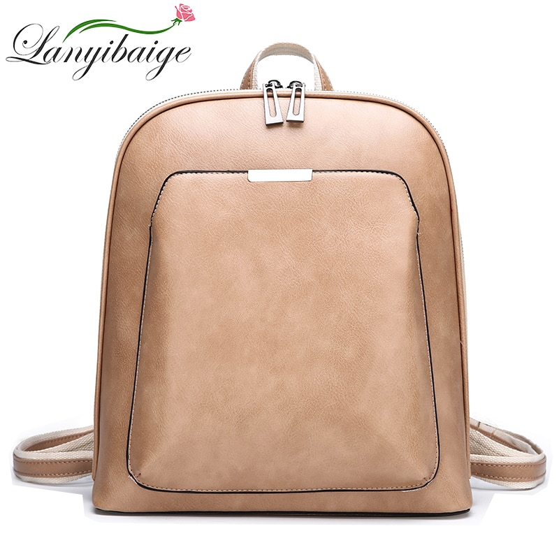 2019 Summer fashion women backpack high quality leather backpacks female bagpack solid school shoulder bag for girls Sac a Dos
