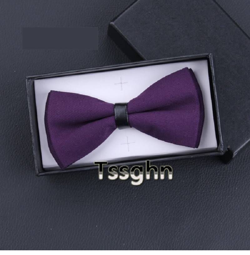 2020 New Fashion Designer Men's Bow Ties Gorgeous Double Fabric Purple Bow Tie Banquet Host Wedding Butterfly Tie with Gift Box