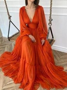 Orange Princess Chiffon 2021 3D Ruffles Evening gown Simple Abiye abendkleider dubai Long Sleeves Prom Dress