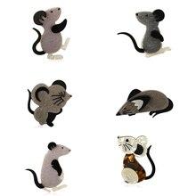 Prix incroyable multi-couche acrylique souris série broches icône flanelle dessin animé noir Animal broche Badge Hijab broche cadeau du nouvel an