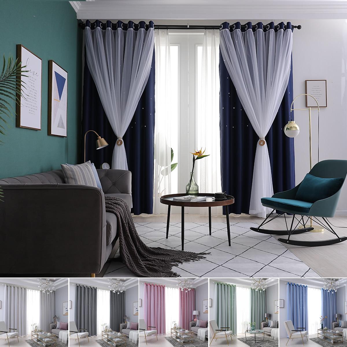 Cortina de cortina superpuesta de doble capa de tul, cortina de hilo estrella con ojal para ventana, cortinas de ventana cortadas sólidas decorativas para dormitorio D40