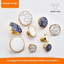2019 Marble Ceramic Handles Drawer Knobs Cupboard Door Handles Single Hole Cabinet Handles with screws Furniture Handles