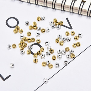 New Practical 50pcs/lot Beading Antique Silver Gold Craved Small Spacer Beads Bracelet Necklace DIY Jewelry Making