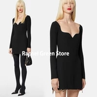 luxury design 2021 new branded high end mini party dresses for women metal ornament pendant low chest neckline sexy woman dress