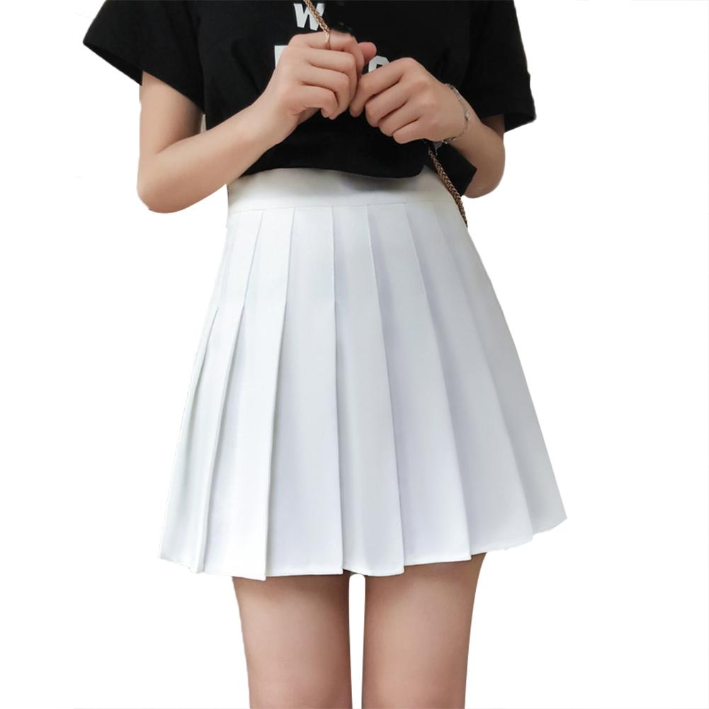 Casual Women Solid Color High Waist Flared Pleated A Line Mini Skater Skirt black white skirt Fashion Female Mini Skirts Short