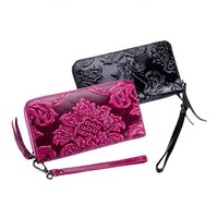 western cow leather carved print long women wallet fashion genuine leather women coins purse