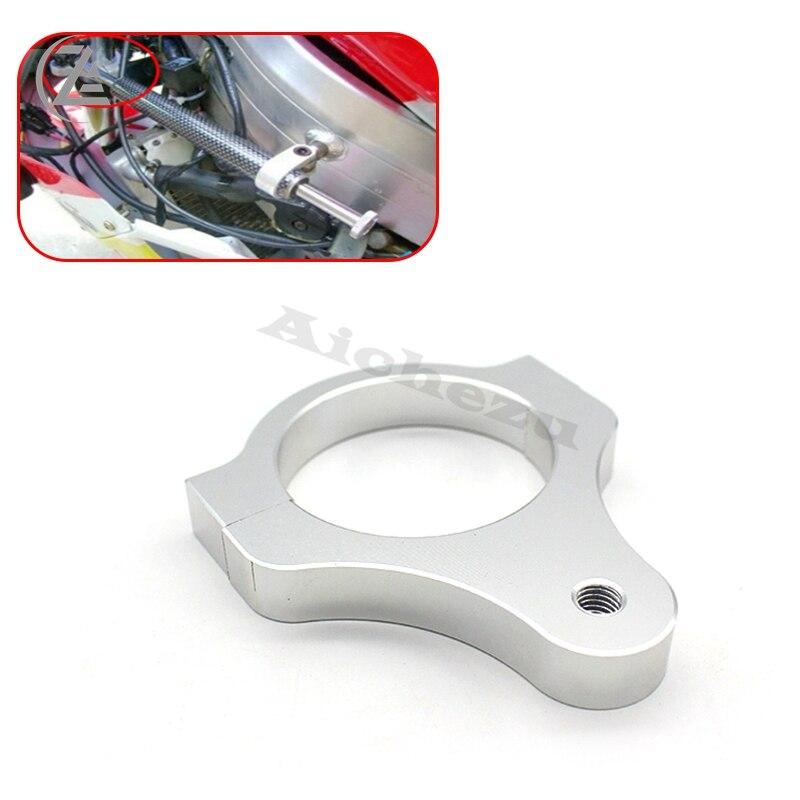 Acz alumínio amortecedor de direção garfo quadro suporte braçadeira fixação pé para modificação da bicicleta da motocicleta prata