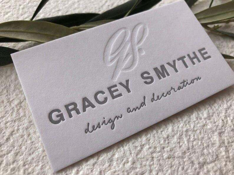 600 Gms algodón Letterpress tarjetas de viaje diseño personalizado, impresión en relieve