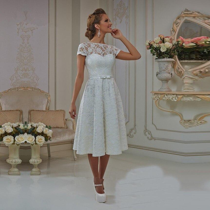 Vestido de Noiva Curto Vintage corto Vestido de novia de encaje 2016 vestidos de novia hasta la rodilla vestidos de corsé espalda de talla grande