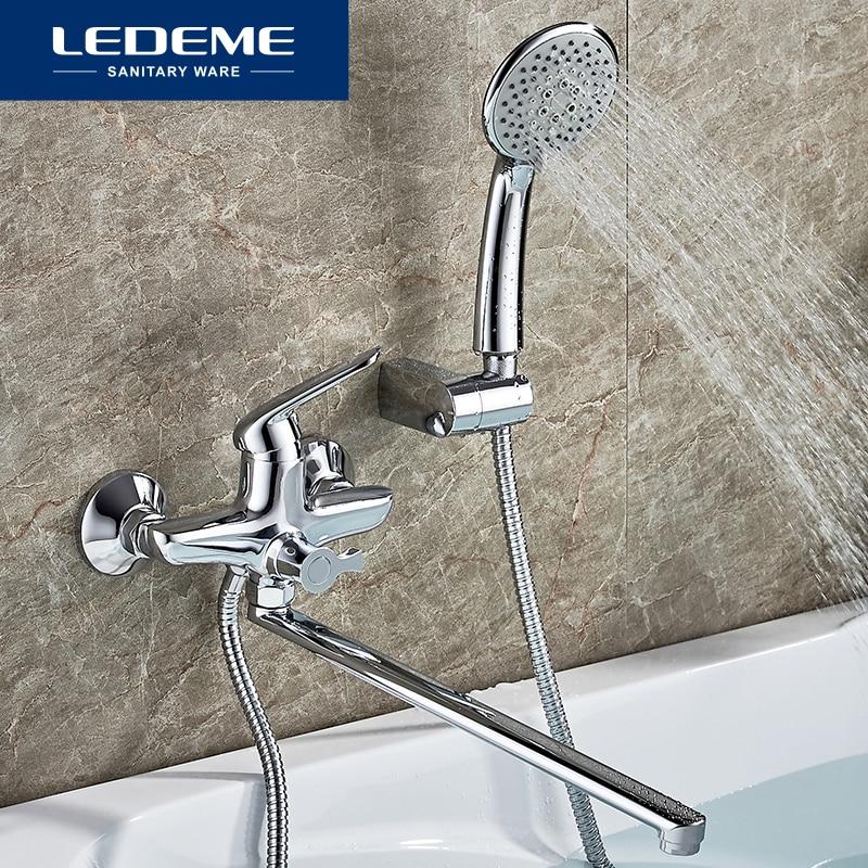 LEDEME-صنبور حمام مطلي بالكروم ، مجموعة صنبور خلاط مع دش نحاسي يدوي ، L2248