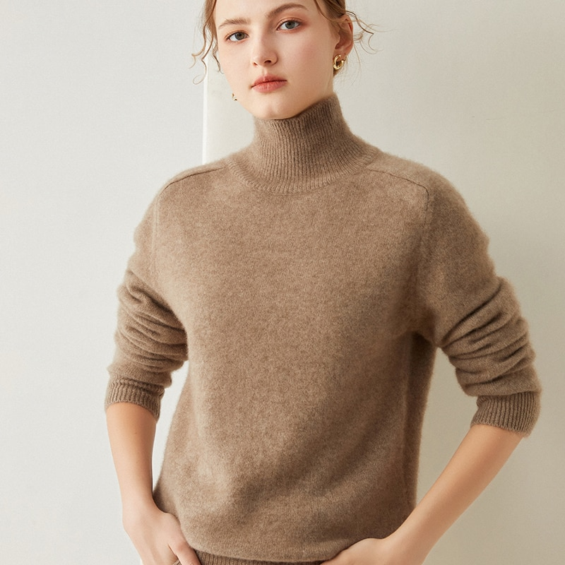 100% Pure Goat Cashmere Knitted Sweaters Women Turtleneck Hot Sale Long Sleeve Solid Colors Soft Top Grade Thick Pullovers enlarge