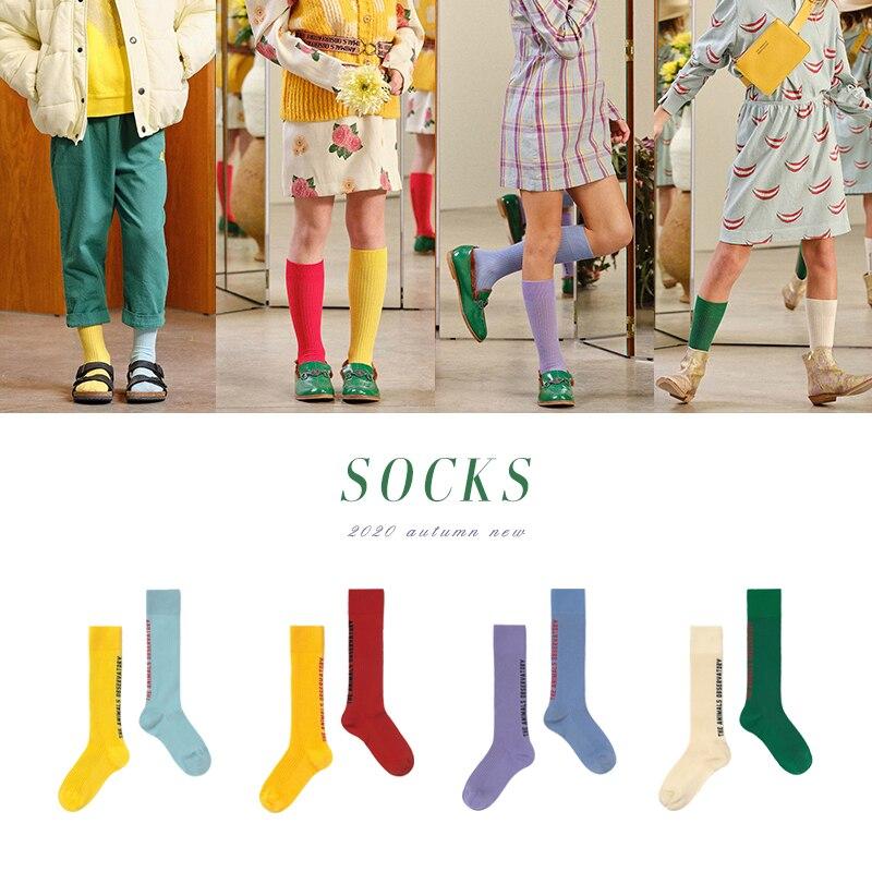¡Novedad de Otoño/Invierno 20TAO! Medias de punto ins de colores combinados con dibujos animados para hombres y mujeres, medias para niños pequeños y medianos, calcetines de tubo casu