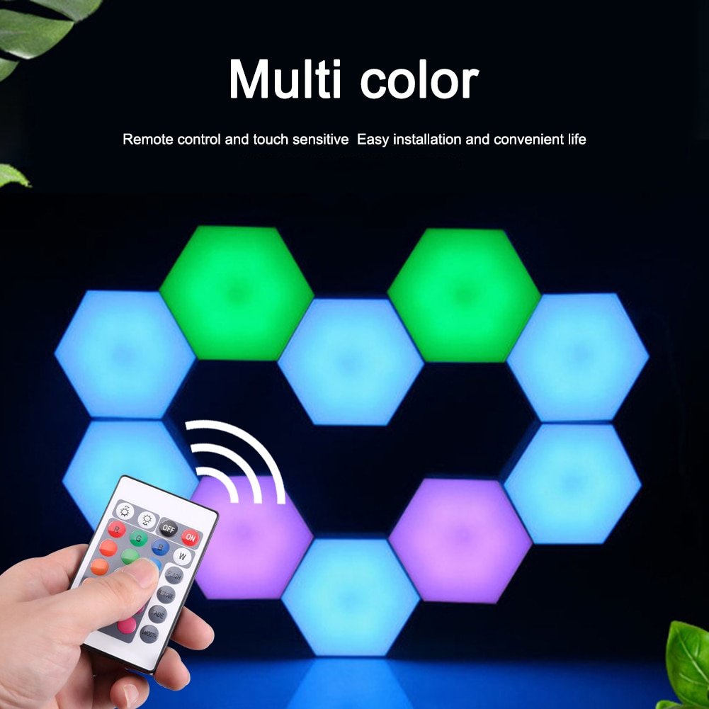USB Colorful LED Honeycomb Quantum Hexagon Wall Lamp Touch Sensitive Bedroom Living Room Stair Loft DIY Decor Night wall Light